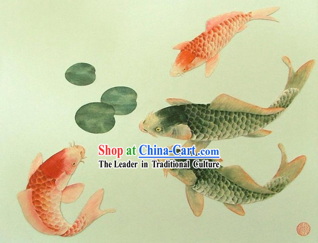 Chinese Classic Hand Carved Wood House Solid Decorative Painting-Prosperous Goldfish