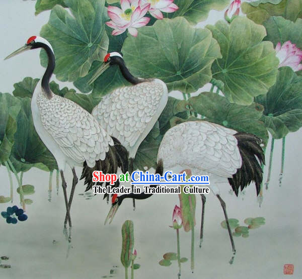 Chinese Classic Large Hand Carved Wood House Solid Decorative Painting-Cranes Group