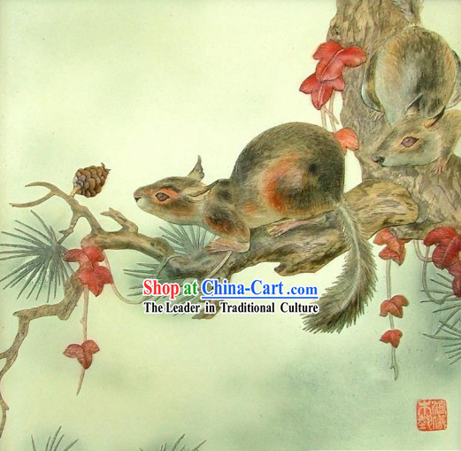 Chinese Classic Large Hand Carved Wood House Solid Decorative Painting-Squirrel