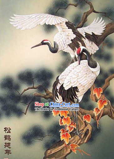 Chinese Classic Hand Carved Wood House Solid Decorative Painting-Cranes