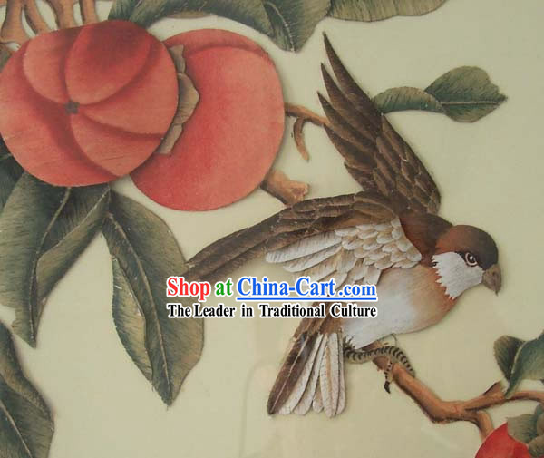 Chinese Classic Hand Carved Wood House Solid Decorative Painting-Persimmon