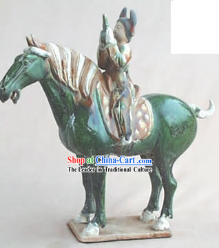 Chinese Classic Archaized Tang San Cai Statue-Tang Dynasty Happy Palace Riding Woman