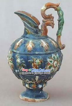 Chinese Classic Archaized Tang San Cai Statue-Phoenix Queen Kettle