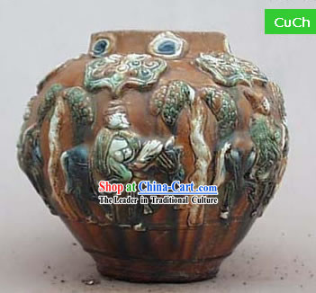 Chinese Classic Archaized Tang San Cai Statue-Spring Travel Pot