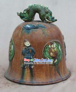 Chinese Classic Archaized Tang San Cai Statue-Dragon Shaped Knob Bell