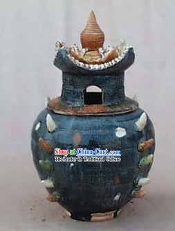Chinese Classic Archaized Tang San Cai Statue-Tang Dynasty Granary