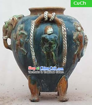 Chinese Classic Archaized Tang San Cai Statue-Tang Dynasty Palace Four Feet Pot