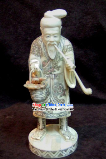 Chinese Classic Ox Bone Handicraft Sculpture Statue-Ancient Healthy Old Man