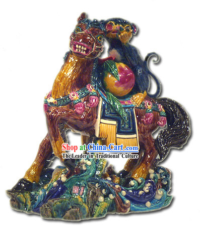 Chinese Cochin Ceramics-Monkey Riding on Horse_means being promoted by the boss_