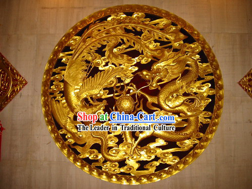 Chinese Palace 100_ Hand Carved Golden Dragon and Phoenix Large