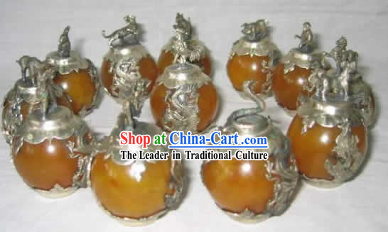 Chinese Classic Palace Silver Amber Sheng Xiao Twelve Animals