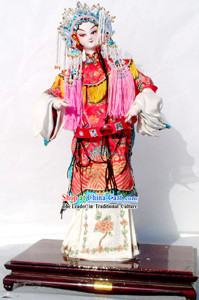 Handmade Peking Silk Figurine Doll - Chinese Opera Beauty