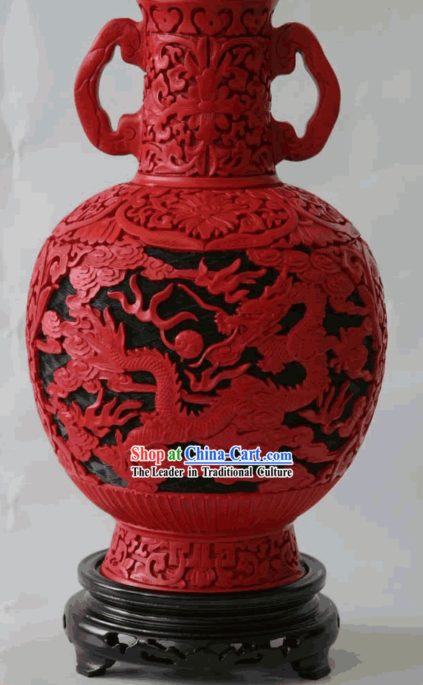 Beijing Palace Lacquer Works-Dragons Bottle