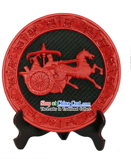 Chinese Palace Lacquer Works-People and Carriage of Three Kingdoms