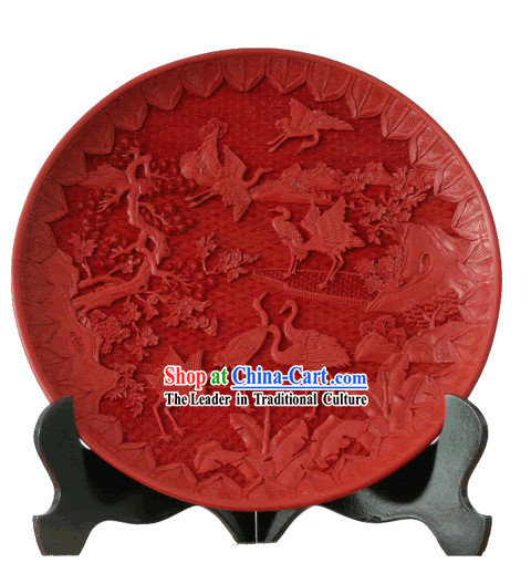 Chinese Palace Lacquer Works-Crane Longevity Plate