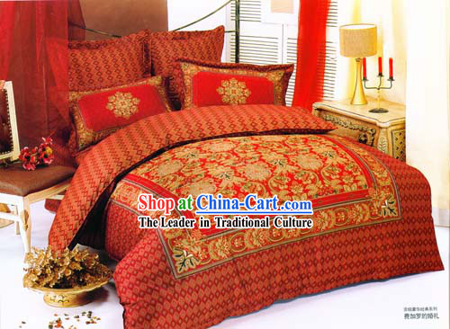 Chinese Traditional 100_ Silk Embroidery Wedding Bed Sets