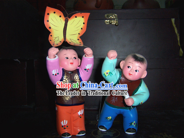 Chinese Clay Sculpture-Flying the Kite