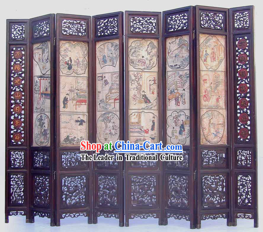 1750 Chinese Basso-relievo Lacquer Hand Carved Painted Folding Screen