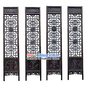 Black Sandalwood Antique Style Folding Screen
