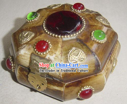 Tibet Big Yak Bone Precious Stone Jewelry Box