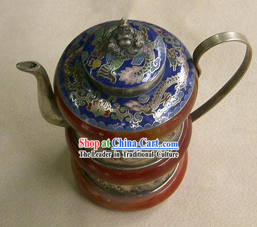 Tibet Stunning Dragon and Phoenix Jade Stove