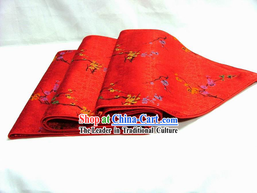 Chinese Handmade Silk Red Plum Blossom Table Banner
