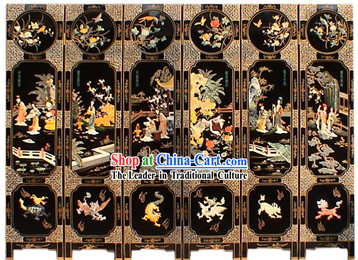 Chinese Hand Made Lacquer Ware Screen-Shi Xiangyun