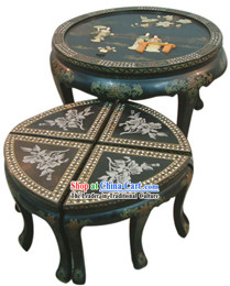 Chinese Classic Palace Lacquer Ware Table and Stool Set