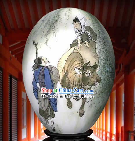 Chinese Wonders Hand Painted Colorful Egg-Cow Boy Guilding The Road