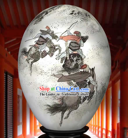 Chinese Wonders Hand Painted Colorful Egg-Ancient War Time