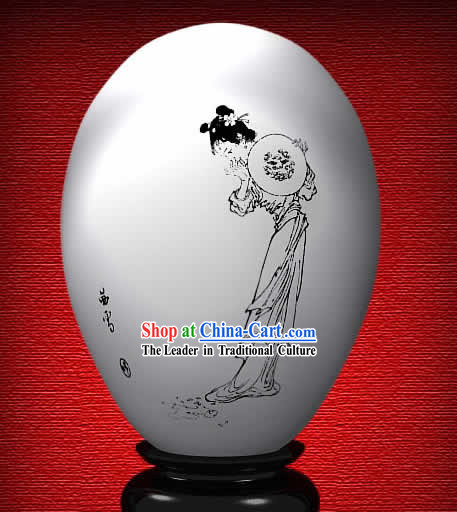 Chinese Wonder Hand Painted Colorful Egg-Snow Girl of The Dream of Red Chamber
