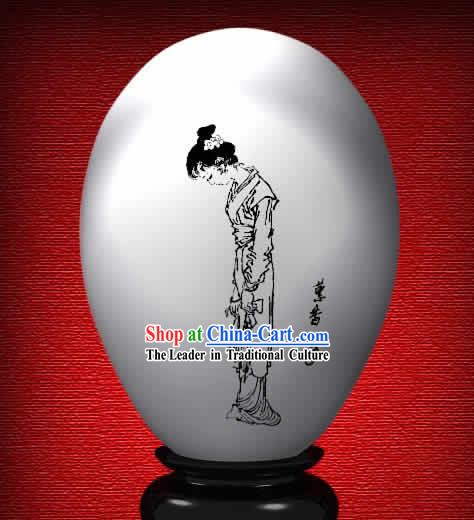 Chinese Wonder Hand Painted Colorful Egg-Hui Xiang of The Dream of Red Chamber