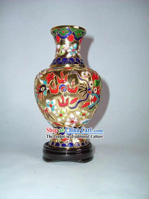 Dragon and Phoenix Classic Cloisonne Vase Made in Jing Dezhen