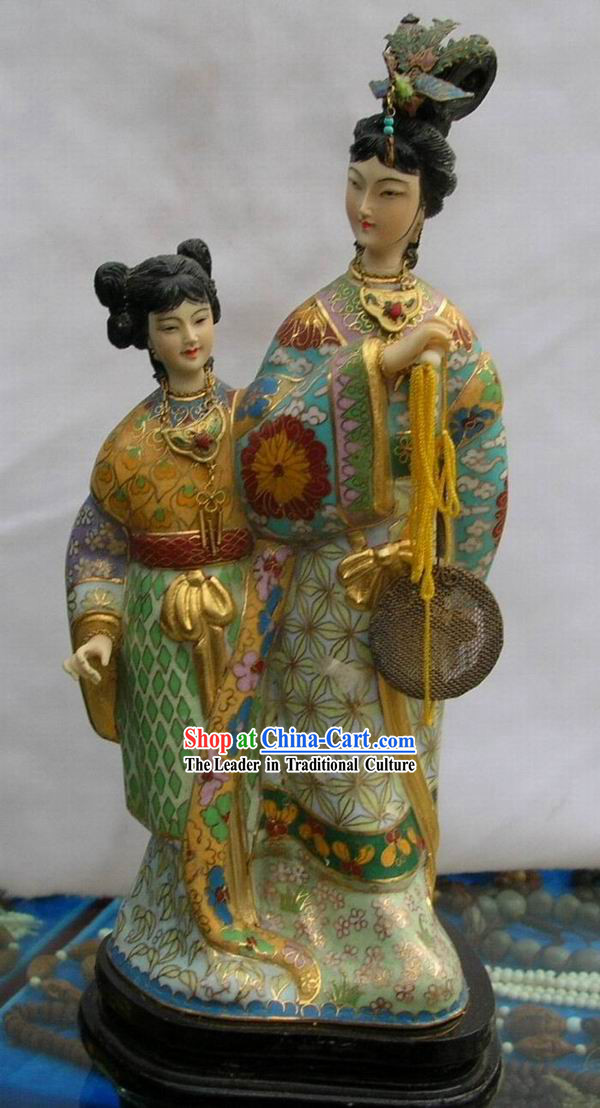 Chinese Palace Empress and Servant Cloisonne Statue