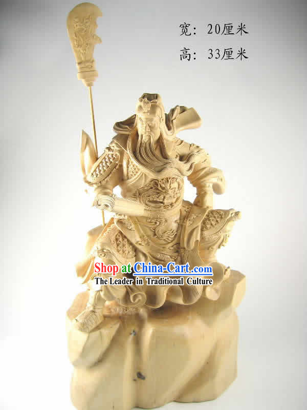 Chinese Hand Carved Dongyang Wood Craft-Loyal Guan Gong