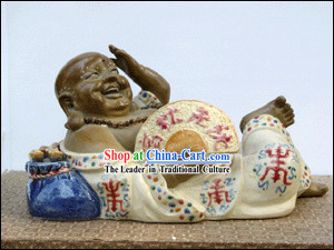 Hand Made Foshan Shi Wan Artistic Ceramics Statue-Happy Monk