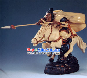 Hand Made Chinese Shi Wan Ceramics Statue-Ancient Brave General Ma Chao