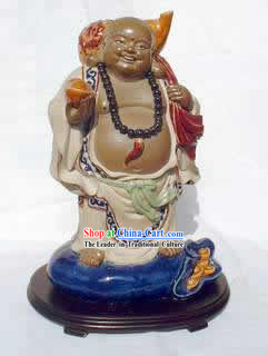 Chinese Hand Made Shi Wan Ceramics-Smiling Monk