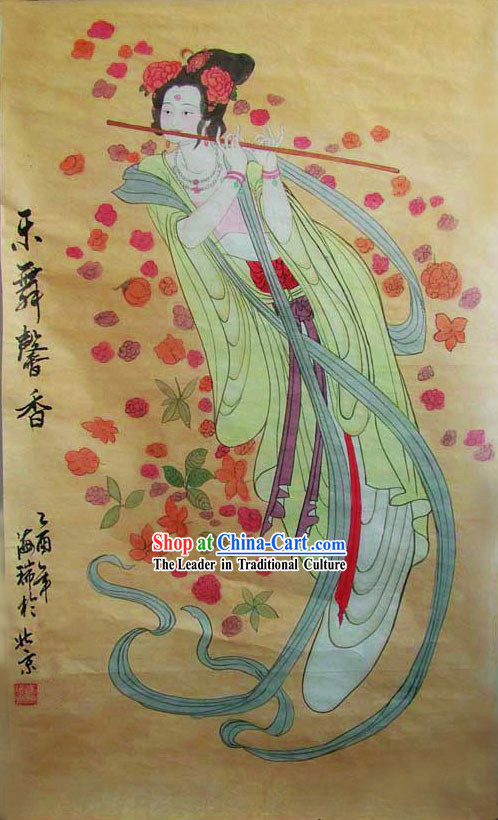 Chinese Traditional Painting-Flying Dancing Fairy Playing Flute