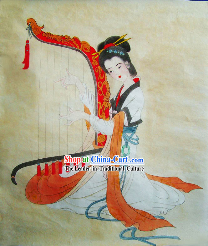 Chinese Traditional Painting-Tang Dynasty Harp Maid