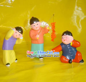 Beijing Hand Made Clay Figurine-Playing Firecracker