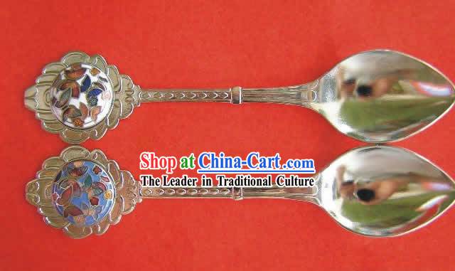 Chinese Cloisonne Coffee Spoon for Lovers_two pieces_1