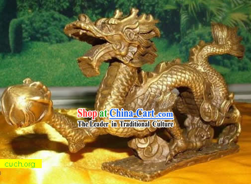 Stunning Chinese Brass Dragon Statue