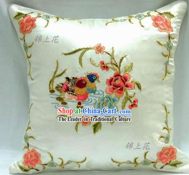 Hand Made Embroidery Mandarin Duck Love Silk Cushion
