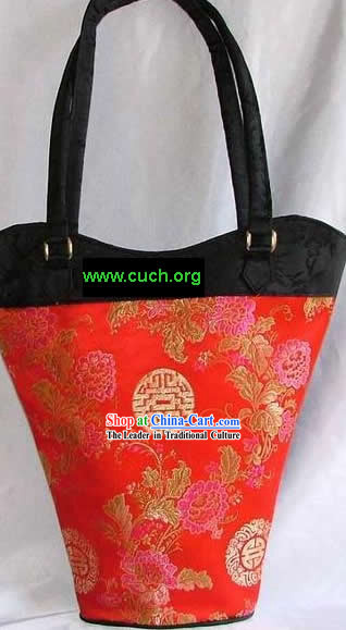 Chinese Red Silk Long Satchel