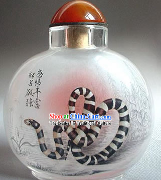 Snuff Bottles With Inside Painting Chinese Zodiac Series-Snake