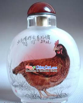 Snuff Bottles With Inside Painting Chinese Zodiac Series-Rooster