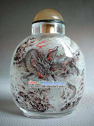 Snuff Bottles With Inside Painting Chinese Animal Series-Water Dragon