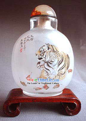 Snuff Bottles With Inside Painting Chinese Animal Series-Tiger King