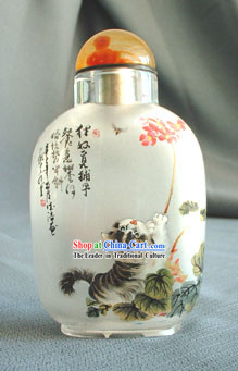Snuff Bottles With Inside Painting Chinese Animal Series-Naughty Cat